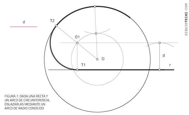 Aplicación de las tangencias. enlazar Recta y circunferencia mediante un arco de radio conocido