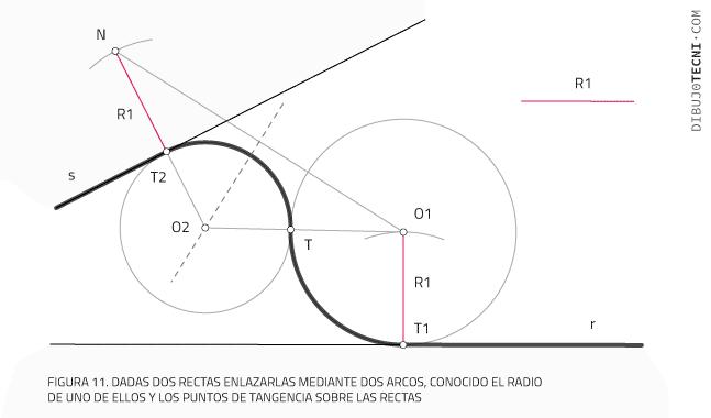 Aplicación de las tangencias. enlazar dos rectas mediante dos arcos, conocido el radio de uno de ellos y los puntos de tangencia sobre las rectas