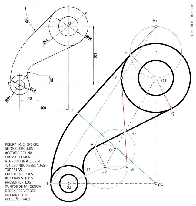 Aplicaciones de las tangencia. Enlaces. Ejercicio 1. Reproducción a escala de un croquis