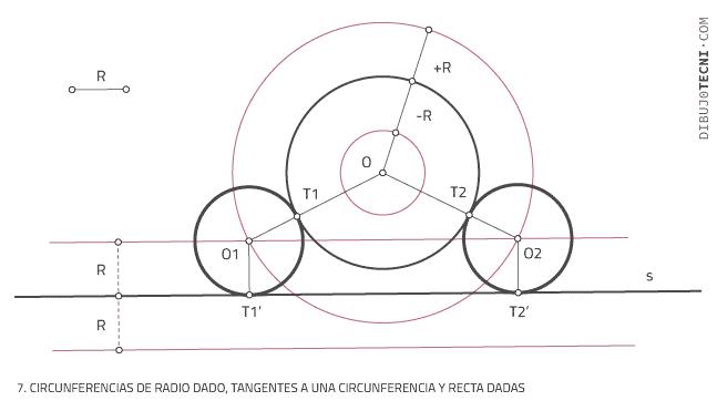 Circunferencias tangentes a rectas y circunferencias