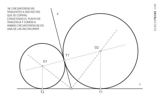 Circunferencias tangentes a dos rectas que se cortan, conociendo el punto de tangencia t común a ambas circunferencias en una de las rectas