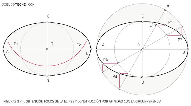 Obtención Focos de la elipse y construcción por afinidad con la circunferencia