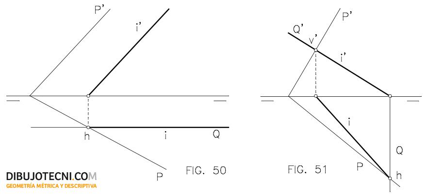 Intersección de plano oblicuo con plano frontal y con plano proyectante vertical.