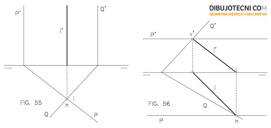 Intersección de proyectantes horizontales entre sí. Intersección de plano oblicuo con paralelo a la línea de tierra.