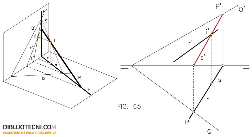 Intersección de una recta con un plano oblicuo.