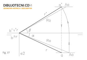 Proyecciones de una recta que corta a la línea de tierra a partir de las ángulos que forma con los planos de proyección.