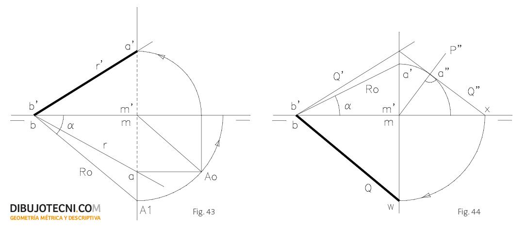 Determinación de las proyecciones de una recta r, conocido el ángulo que forma con la línea de tierra y una de sus proyecciones. Determinación las trazas de un plano, conocida una de ellas y el ángulo que este forma con la línea de tierra.