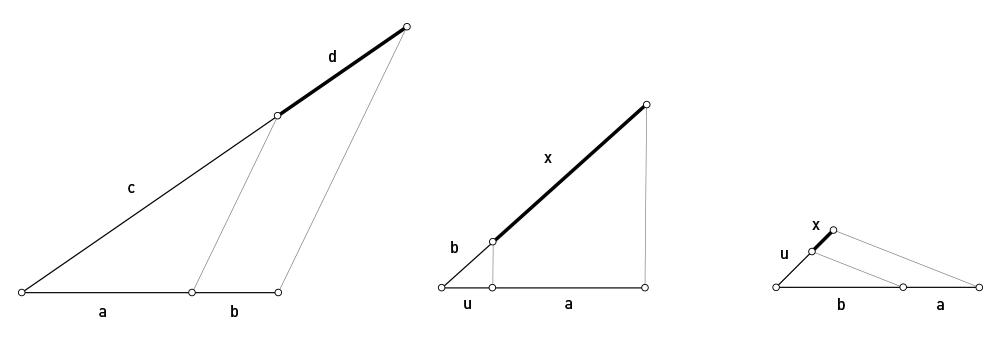 Figura 5,  cuarta Proporcional. Figura 6, producto de 2 segmentos a y b. Figura 7, cociente de 2 segmentos a y b.