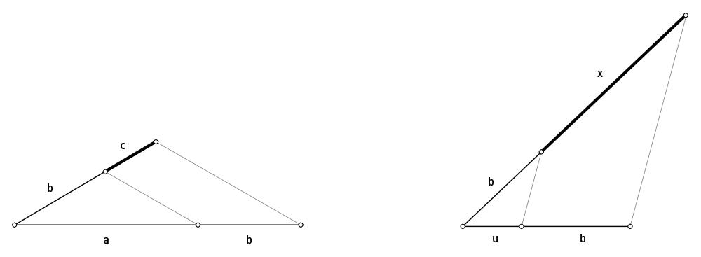 Figura 8, Tercera Proporcional. Figura 9, cuadrado de un segmento b dado.