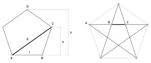 Figuras 15 y 16. Relaciones áureas en el pentágono regular y estrellado.