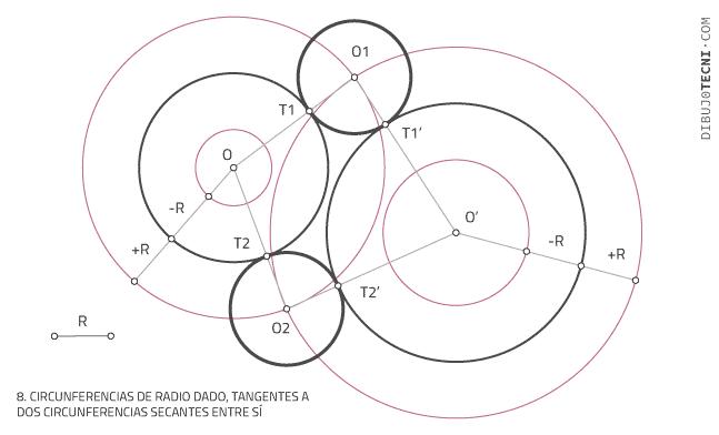 Circunferencias tangentes a rectas a dos circunferencias secantes