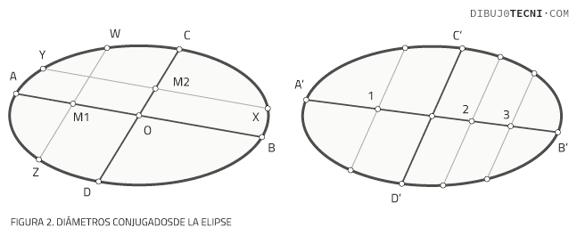 Diámetros conjugados de la elipse