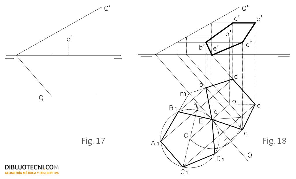 Desabatimiento de una superficie plana sobre un plano dado Q.