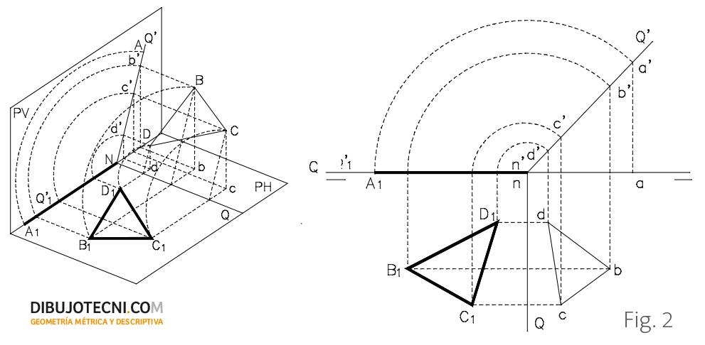 Abatimiento de un plano proyectante vertical sobre el plano horizontal de proyección.
