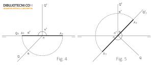 Abatimiento de un plano proyectante horizontal sobre el plano vertical de proyección.