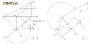 Abatimiento de un punto situado en un plano dado Q.