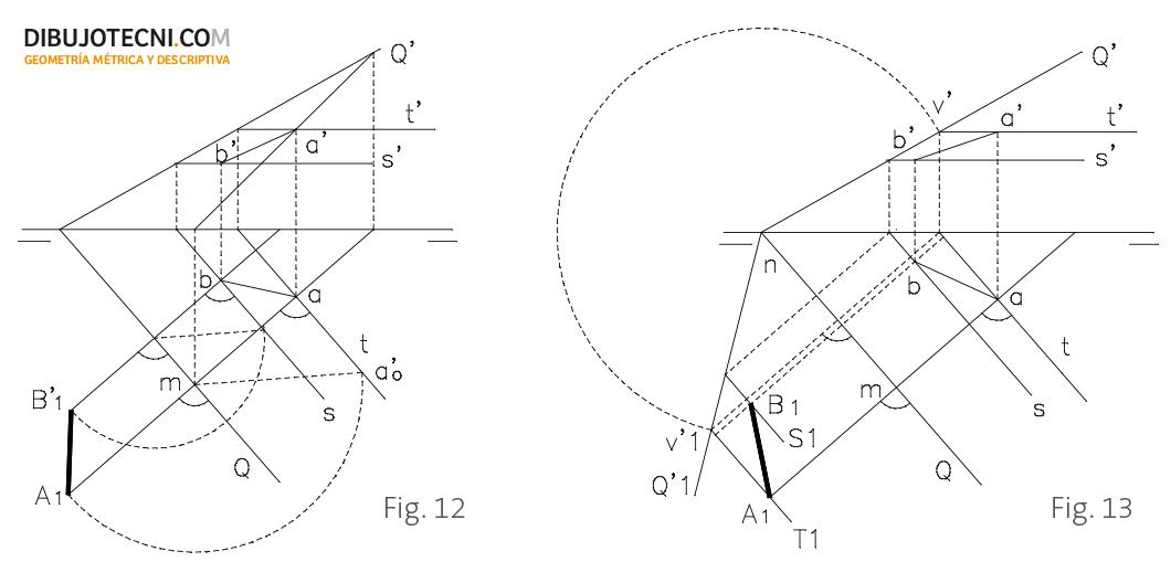Abatimiento de un segmento situado en un plano dado.