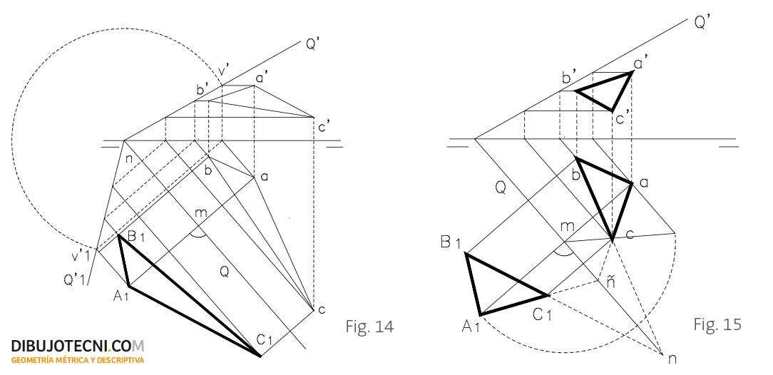 Abatimiento de una superficie plana situada en un plano dado.