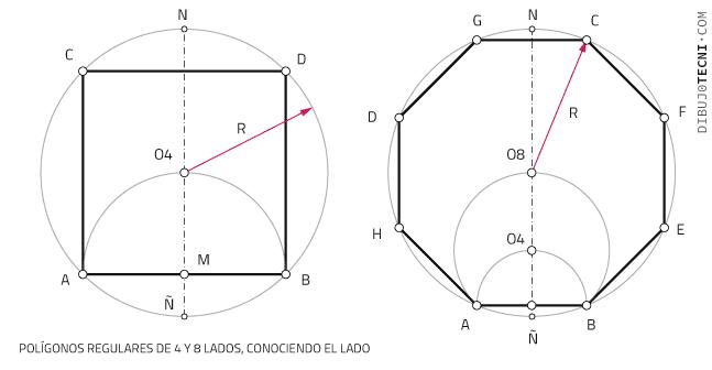 Polígonos regulares de 4 y 8 lados, conociendo el lado