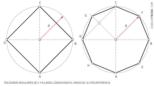 Polígonos regulares de 4 y 8 lados, conociendo el radio de la circunferencia