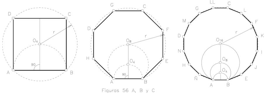 Polígonos regulares de 4, 8, 16 lados, conociendo el lado.