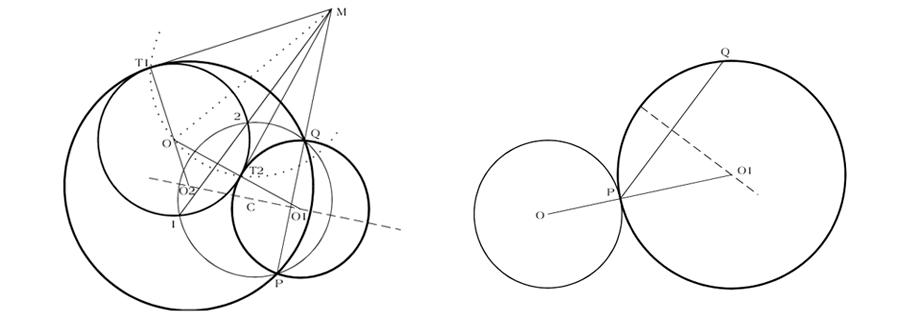 Circunferencias tangentes entre sí pasando por puntos