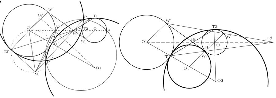 Circunferencias tangentes a dos circunferencias dadas y que pasen por un punto exterior a ambas. Circunferencias tangentes a dos circunferencias dadas conociendo el punto de tangencia en una de las circunferencias
