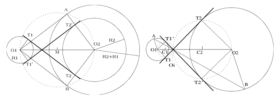 Rectas tangentes comunes interiores a dos circunferencias dadas de distinto radio