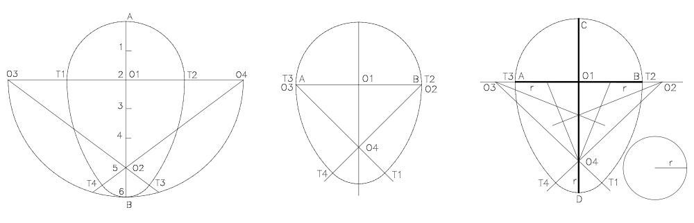 Construir un ovoide conociendo su eje, conociendo su diámetro y conociendo su diámetro, su eje y el radio del arco desigual menor.
