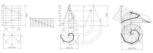 Hélice cilíndrica, cónica y esférica.