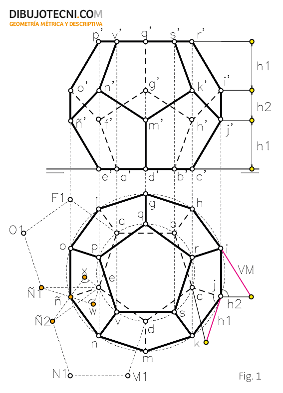 Dodecaedro representaci n desarrollo y secciones planas for Plano de planta dibujo tecnico