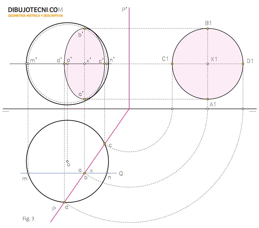 Sección plana de la esfera.