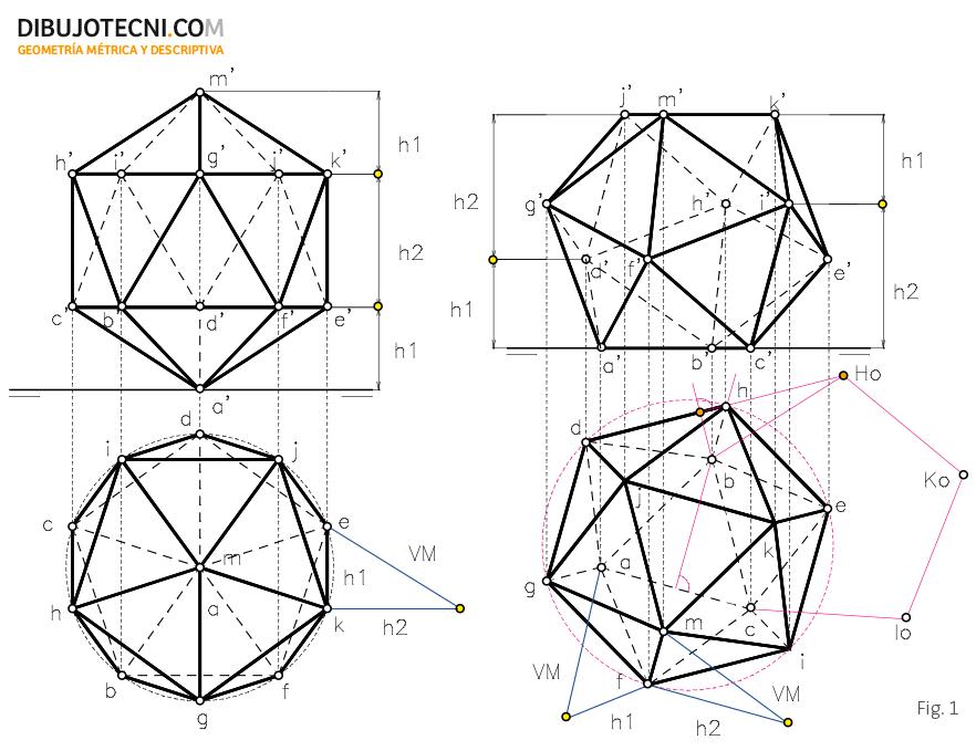 Icosaedro con una de sus diagonales perpendicular a uno de los planos de proyección y con una de sus caras coincidente en con plano horizontal.