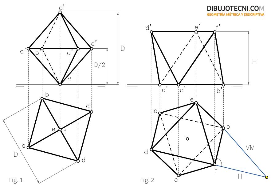 Octaedro con una de sus diagonales perpendicular a uno de los planos de proyección y una de sus caras sobre el plano horizontal.