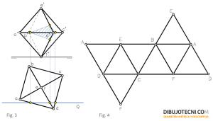 Desarrollo y sección producida por un plano frontal.