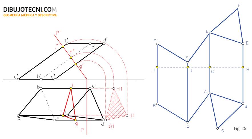 Desarrollo de un prisma oblicuo y frontal.