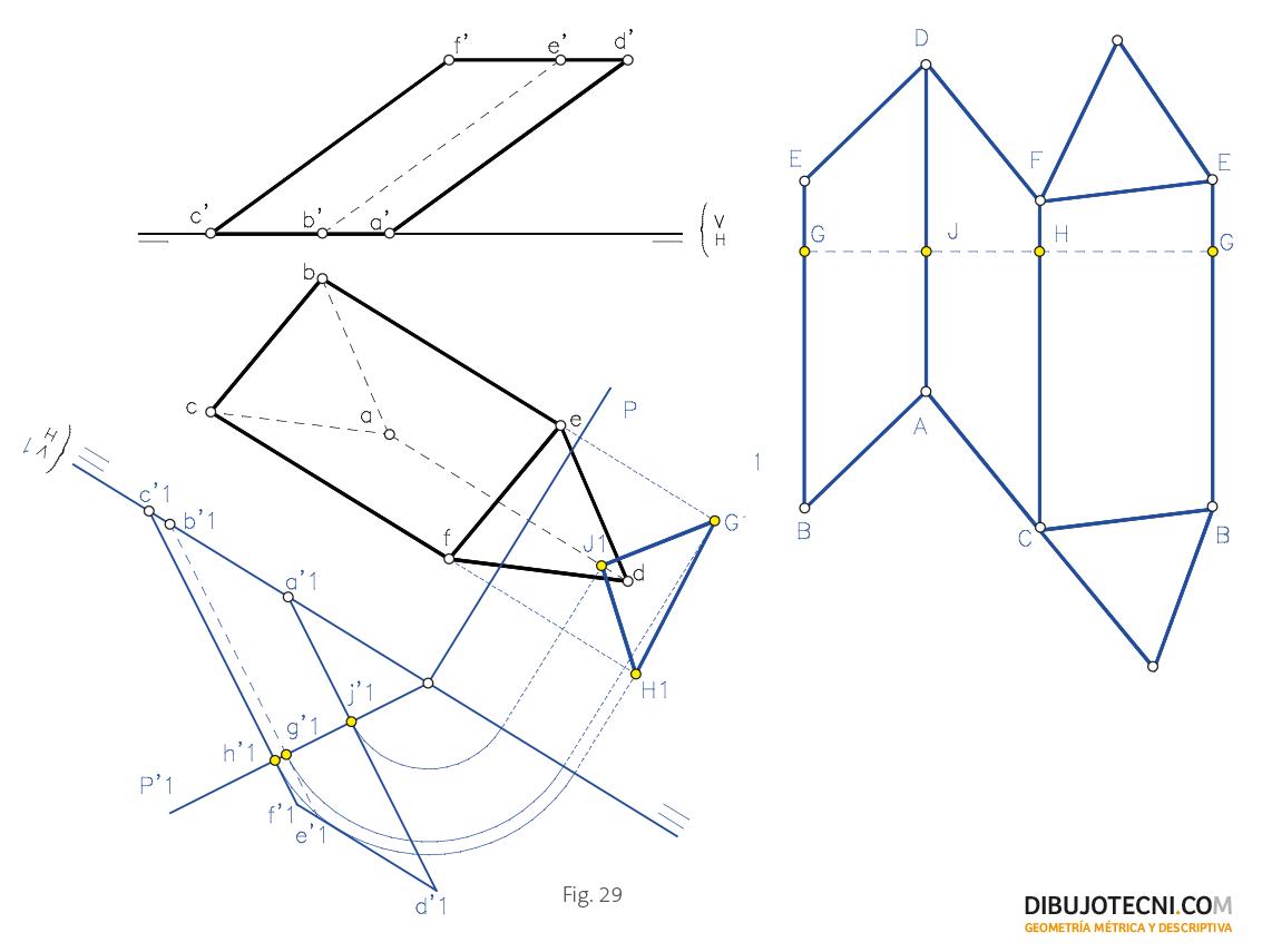Desarrollo de un prisma oblicuo, oblicuo a los planos de proyección