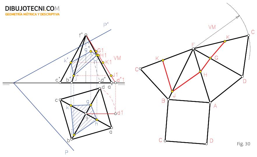 Desarrollo y transformada de una pirámide recta.