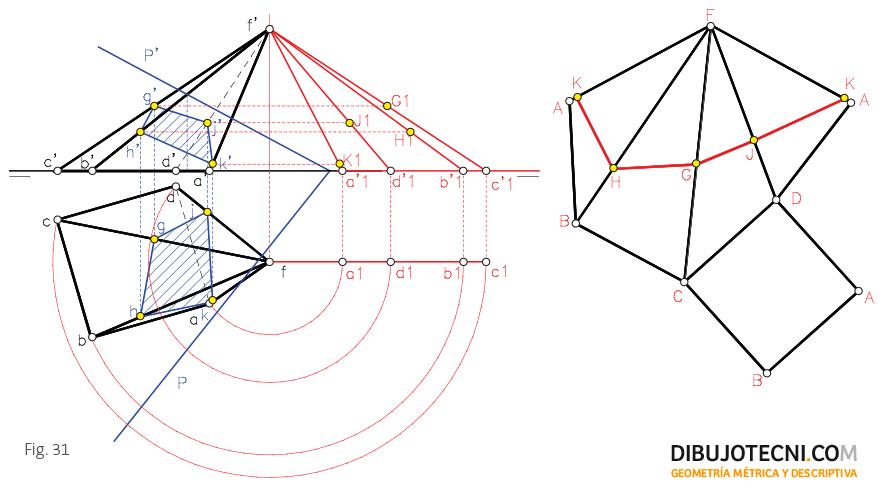 Desarrollo y transformada de una pirámide oblicua.