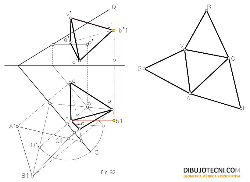 Desarrollo de una pirámide recta situada en un plano oblicuo.