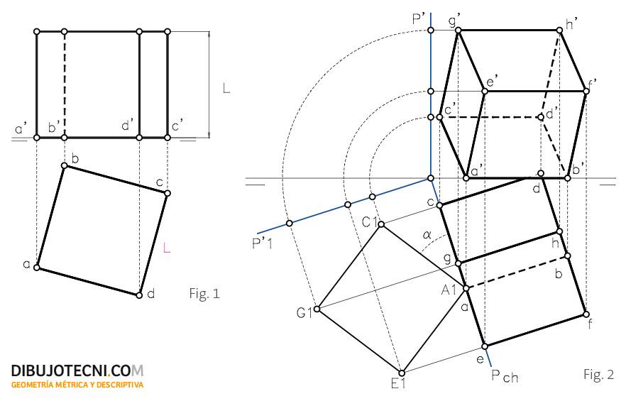 Hexaedro con una de sus caras apoyada en el plano horizontal de proyección.