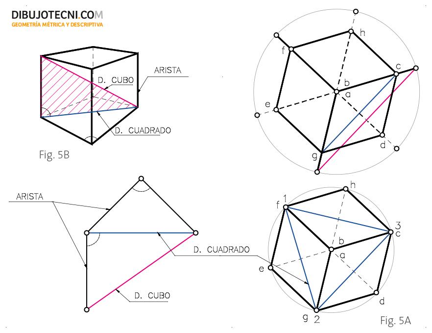 Determinación de la magnitud de la diagonal del cuadrado de las caras y la magnitud de la diagonal del cubo.