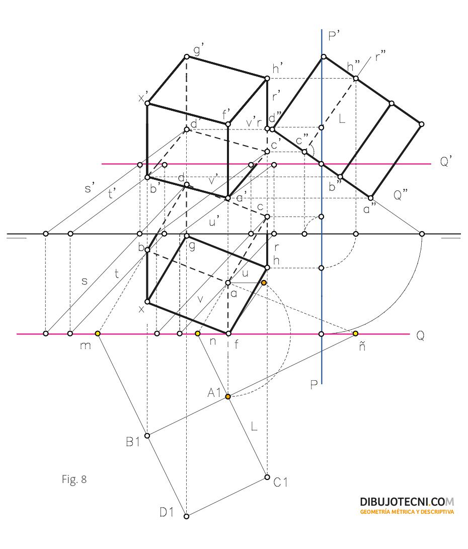 Hexaedro con una de sus caras apoyada en un plano cualquiera.