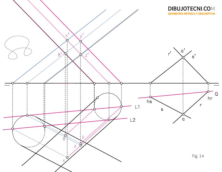 Intersección de dos cilindros oblicuos apoyados en el plano horizontal de proyección.