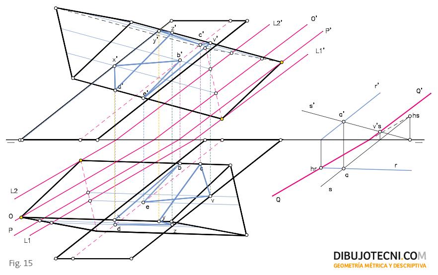 Intersección de dos prismas oblicuos, uno con su base apoyada en el plano horizontal de proyección y el otro con su base apoyada en el plano vertical de proyección.