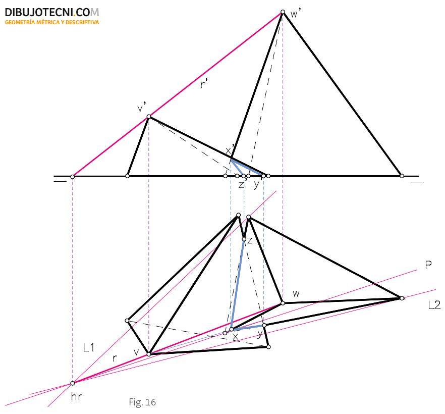Intersección de dos prismas oblicuos con sus bases apoyadas en el plano horizontal de proyección.