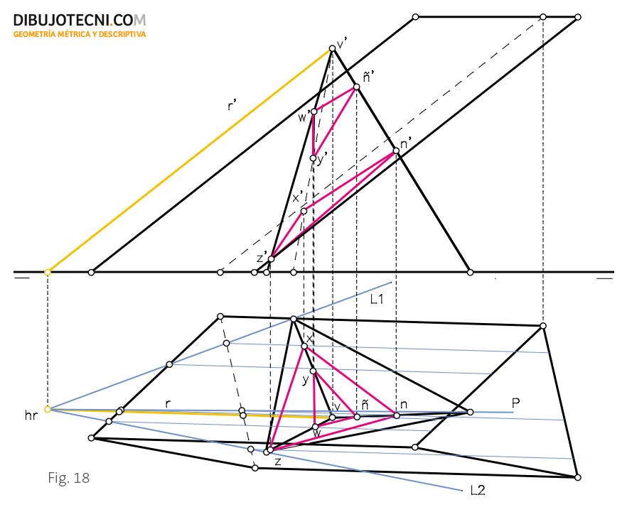 Intersección entre un prisma y una pirámide oblicuos y apoyados por sus bases en el plano horizontal de proyección.