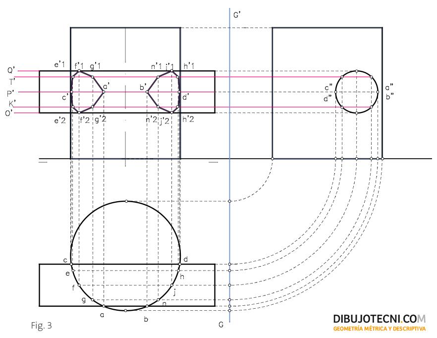 Intersección de cilindros rectos, uno con sus generatrices verticales o de punta y el otro con sus generatrices paralelas a la línea de tierra.