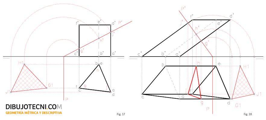 Sección recta de un prisma recto y oblicuo por un plano proyectante.