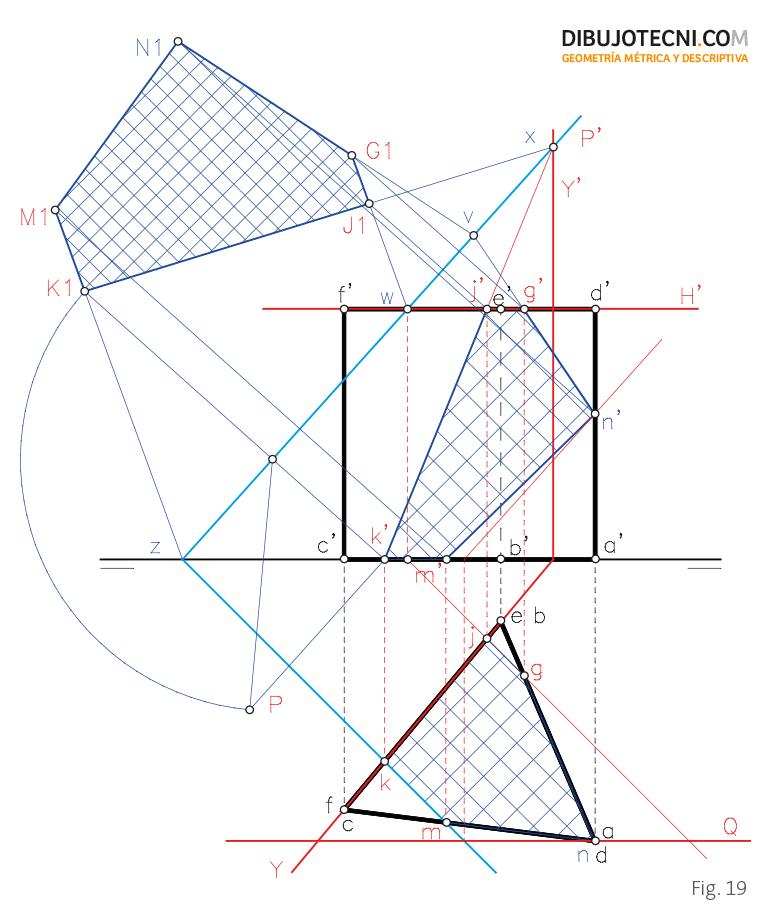 Sección oblicua de un prisma recto.